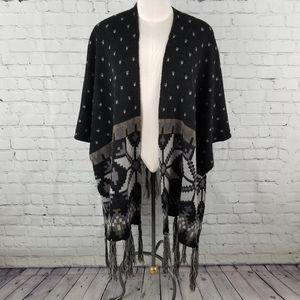 KIMBERLY C. | fringed open kimono/cape/poncho